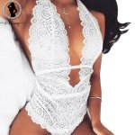 ALINRY New 2018 plus size sexy lingerie hot women transparent deep-V floral lace teddy sexy bodysuit hollow out erotic underwear