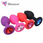Small Medium Large Safe Silicone Butt Plug With Crystal Jewelry Anal Plug Vaginal Plug No Vibrator Anal Toys For Woman & Men