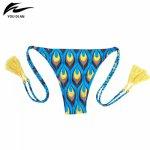 Sexy Thong Bikini Swimwear Women Bottom Adjustable Briefs Swimsuit Panties Underwear Bathing Suit Tassel Brazilian Bikini bottom