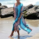 Beach Printed Dress Kaftan Beach Sarongs Sexy Cover-Up Chiffon Bikini Swimwear Tunic Swimsuit Long Dress Bathing Suit Cover Ups