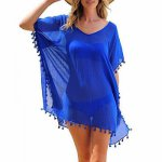 Sexy Cotton Bathing Suit Cover ups Summer Beach Dress Tassel Trim Bikini Swimsuit Cover up Beach wear Pareo Sarong