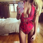 Pfflook New! Sexy Women Swimsuit Sexy V-Neck Maillot De Bain Une Pieces Swimwear Bikini Swimwear Beach Hollow Bikini