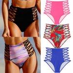 Summer New Women Sexy Bikini Lady Hollow Out Floral Print Push up Beach Swimsuit High Waist Bottoms S-XL