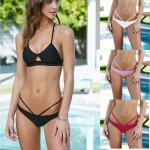 2019 Hot Women Triangular Trunks Bikini Set Bottom Swimwear Cheeky Thong V Swim Trunks Sexy Women Beachwear Solid Black S-XL