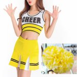 With 2PCS Cheerleader Pom Poms Yellow Sexy High School Cheerleader Costume Cheer Girls Uniform Party Outfit Women Fancy Dress