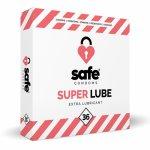 Safe, Prezerwatywy mocno nawilżane - Safe Super Lube Condoms Extra Lubricant  36szt