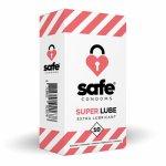 Safe, Prezerwatywy mocno nawilżane - Safe Super Lube Condoms Extra Lubricant  10szt
