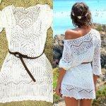 White Knit Cover Up Women Summer Sexy Lace Crochet Bikini Beach Dress Tops with Belt
