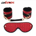 Ins, SMSPADE PU Bondage Kit Contains Handcuffs Blindfold Suitable for Beginners Sexual Partners Adult BDSM Games