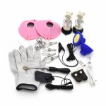 Adult Games Electric Shock Accessory Electro Shock Breast Massage Pads Nipple Clamps Finger Vibrating Masturbation Cap Sex Toys