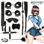 10Pcs/set Sex Bondage Kit Adult Games Set Handcuff Footcuff Whip Rope Blindfold sex toys for couples Products for babydoll set