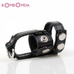 Leather Cockring Scrotum Bound Ball Stretcher Penis Lock Cock Cage Dildo Restraints Sex Toys For Men Sex Products O45