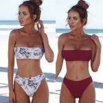 Women Print Bikini Set Sexy Solid Tube Top Bathing Suit New Summer Swimsuit Beachwear Female Backless Swimwear Biquinis