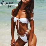 Sexy Off shoulder bathing suit Push up swimwear women bathers Mesh bikini set 2019 High cut swimsuit female Soild white biquini