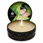 Shunga, Świeca do masażu - Shunga Massage Candle zielona herbata