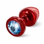 Plug analny ozdobny - Diogol Anni Butt Plug 25mm Okrągły Czerwony z Niebieskim