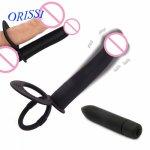 Orissi, ORISSI Silicone Dildo Vibrator Double Prober Man Strap On Anal Dildo 5.1'' Penis Vibration Strapon Dildo Anal Sex Toy For Men