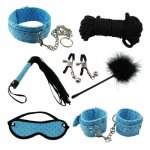 7pcs Beingner Fetish SM Slave Couple Handcuffs  Bondage Sex Bed Restraints Kit Rope Cuffs Whip Collar Blindfold Adult Sexy Toy