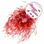 Sportsheets Tickler Bracelet – Bransoleta z piórek do pieszczot biało-czerwona