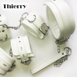 Thierry Luxury soft white Bondage Restraints set,collar wrist ankle cuffs for Fetish role play adult game,handcuffs Sex products