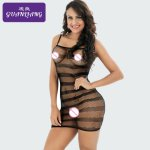 Sexy Lingerie 2018 Striped Women Costumes Net Dress Erotic Bodystocking Robe Nightgowns For a Woman Sex Baby Dolls Nightdress