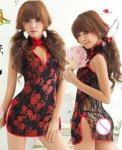Sexy Cheongsam Lingerie Kimono Costume Set for Women Babydoll Sleepwear Cheongsam Lingerie