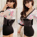 Hot sale baby doll V sexy lingerie japanese kimono with bow sexy underwear print sakura uniform temptation sexy sleepwear