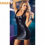 ENGAYI Brand Sexy Summer Faux Leather Latex Women Erotic Dress Sexy Lenceria Babydolls Nuisette Porn Sexy Costumes Dresses 1033