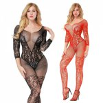 Sexy Erotic Lingerie Intimates Teddy Bodystockings Hollow Open Crotch Stockings Fishnet Mesh Erotic Bodysuit Porn Sleepwear A236