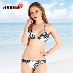 bikini women swimwear sexy sling low waist halter deep v striped printed large size big cup bathing swimsuit biquini back lace