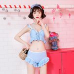New Arrival Japanese Lolita Style Sweet Sexy Two Piece Bikinis Set Solid Color Ruffle Quick Dry Comfy Swimsuit Women Swimwear