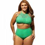 2017 Plus Size Women High Waist Bikini Set Brazilian Big Chest Push Up Sexy Swimwear XXXXL Big Size Swimsuit For Women