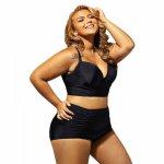 2017 New Black Plus Size Women High Waist Bikini Set Brazilian Big Chest Push Up Sexy Swimwear XXXXL Big Size Swimsuit For Women