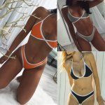 2017 Female Bathing Suit New Design Hot Sale Sexy Swimwear Women Beach Triangle Bikini Set Bandage Push-Up Swimsuit Beachwear