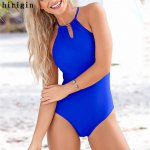2017 New One Piece Suits Sexy Women Swimsuit Halter Bathing Suit Bandage Swimwear Solid Monokini Bikini Summer Beachwear