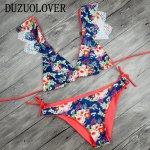 2017 Sexy Ladies V Neck Floral Hollow Out Thong Biquini Ruffled Swimsuit Printed Swimwear Bikinis Women Brazilian Bikini set