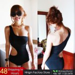 2017 Sexy Womens One Shoulder One-Piece Suits Swimsuit Padded Bodycon Bikini Mesh Swim Suit Hollow Solid Black Beachwear