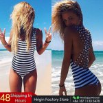 2017 Women Paded One-Piece Suimwear Brazilian Sexy Bikinis Striped Swimsuit Monokinis Biquini Swimsuit Bathing Vintage Plus Size