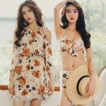 Women 2018 Bandage Bikini Sexy Swimwear Dress Floral Swimsuit Bathing Suit Women China Style Print Bikini Set