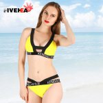 bikini women swimwear sexy sling low waist halter solid color letter print large size big cup bathing swimsuit biquini back lace