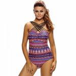Party Swimsuit Multi-color Cross Printing Triangular Conjoined Bikini Sexy High Flexibility Summer One-piece Bikini Set