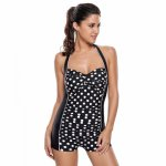 Summer Sexy Striped Dots Swimsuit Push Up Hanging Neck Strap Swim Trunks Bikini Women's One Piece Beach Style Swimsuit
