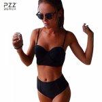 2017 Sexy Bikini Set Bandeau Black Bikinis Push up Swimsuit High Waist Plus Size Swimwear Women Brazilian Bathing Suits Biquini