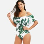 2018 New Sexy Women One Piece Swimwear Bikinis White/green with Floral Leaves Printing Swimsuit Swimming Swim Bathing Suit