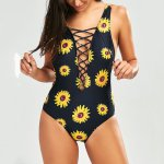 Women Swimming Swimsuit Sunflower Biquini Print Brazilian Swim Wear Hollow Sexy Bikini Set Female Swimwear Bathing Suits