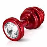 Diogol, Prążkowany ozdobny plug analny - Diogol Ano Butt Plug Ribbed  Red 35mm Czerwony