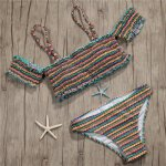 Sexy Swimsuit Short Sleeve Swimwear Women Brazilian Bikini Set Biquini Striped Pleat Bikini 2018 New Maillot De Bain Femme