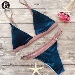 Brazilian Velvet Bikini Swimsuit Swimwear Triangle Sexy Push Up Bathing Suit Vintage Blue Red Patchwork Pink Bikini Tanga  CN156