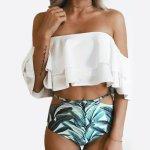 High Waist Swimsuit 2017 Sexy Bathing Suits Women Bandeau Swimsuit Off Shoulder Swimwear Brazilian Bikini Bottoms Plus Size XXL