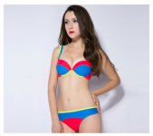 bikini women swimwear two piece swimsuit sexy prined lace sling low waist colorful female biquini bathing patchwork candy color